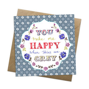 Grey Skies Greeting Card - anniversary cards