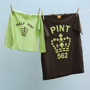 Pint And Half Pint Twinset: Mint Choc Chip - babies' dad & me sets