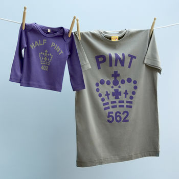 purple and stone coloured pint and half pint set