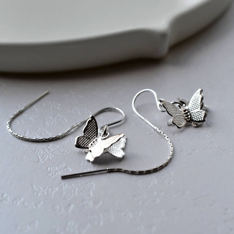Silver Butterfly Pull Through Chain Earrings