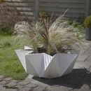 Kronen Bowl flower Pot, White Concrete