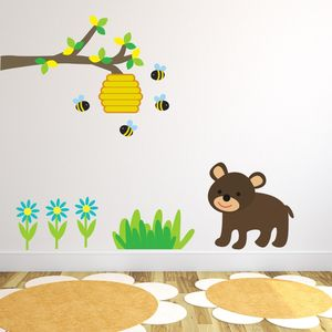 Bear And Bees Woodland Tree Wall Sticker