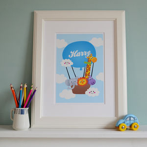 Kids' Personalised Print Hot Air Balloon - children's pictures & paintings