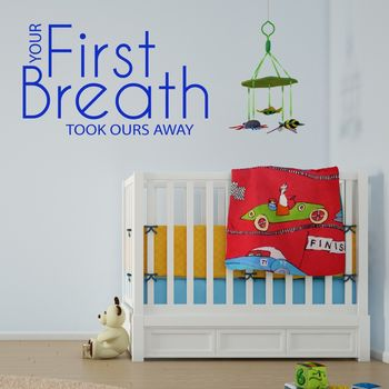 'Your First Breath' Wall Sticker Quote - Brilliant Blue