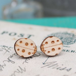 Wooden Ladybird Earrings - earrings
