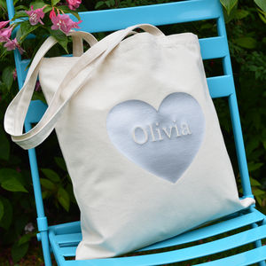 Personalised Silver Heart Tote Bag - personalised