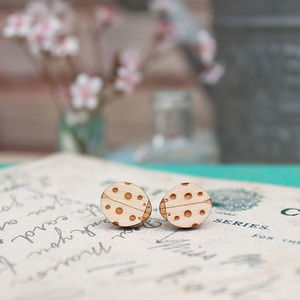Wooden Ladybird Stud Earrings