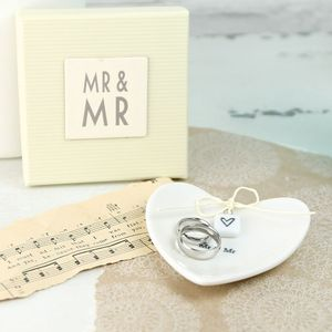 Mr And Mr Ceramic Heart Ring Dish
