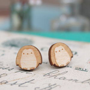 Wooden Penguin Stud Earrings