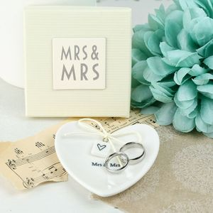 Mrs And Mrs Ceramic Heart Ring Dish