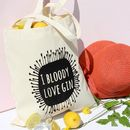'Gin Love' Black Print Tote Bag