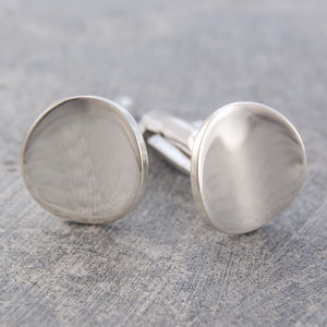 Men's Silver Round Polished Oval Cufflinks