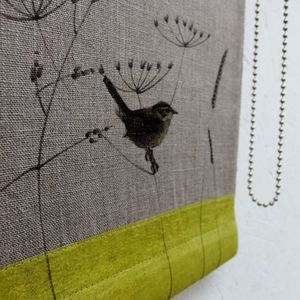 Linen Roller Blind With Wren And Wild Grasses - bathroom