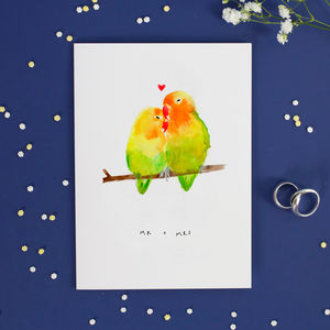 Mr And Mrs Lovebird Anniversary Wedding Valentines Card
