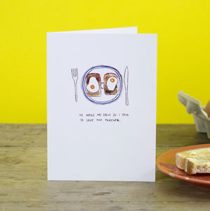 'He Made Me Eggs' Valentine's Day Card - valentine's cards