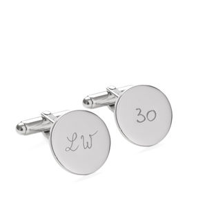 Father'S Personalised Sterling Silver Round Cufflinks - cufflinks