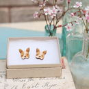 Laser Cut Wooden French Bulldog Stud Earrings