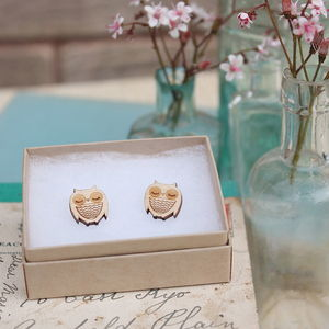 Set Of Three Wooden Animal Earrings