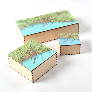Personalised Map Location Jewellery Or Cufflink Box - bedroom