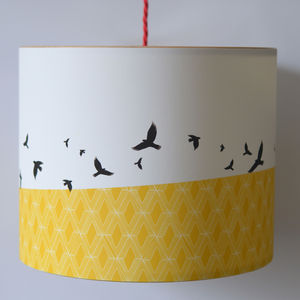 Free Flying Birds Illustrated Lampshade - bedroom