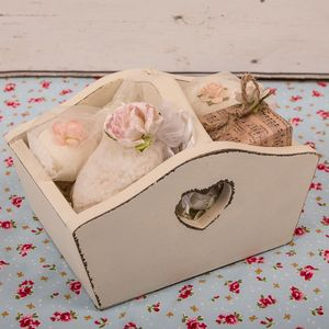 Vintage Bath Products In Heart Trug - bathroom