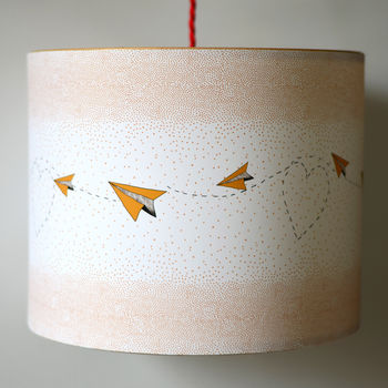 Dots, Hearts And Planes Illustrated Lampshade