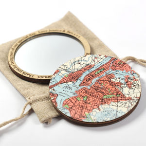 Personalised Map Location Compact Pocket Mirror For Her - frequent traveller