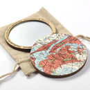 Personalised Map Location Compact Pocket Mirror For Her