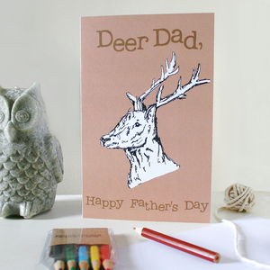 Colour Your Own Deer Father's Day Card