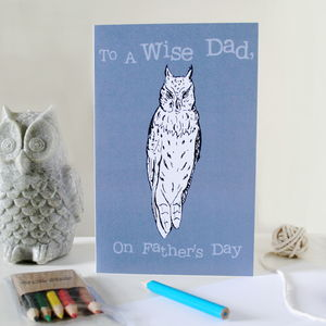 Colour Your Own Owl Father's Day Card - father's day cards