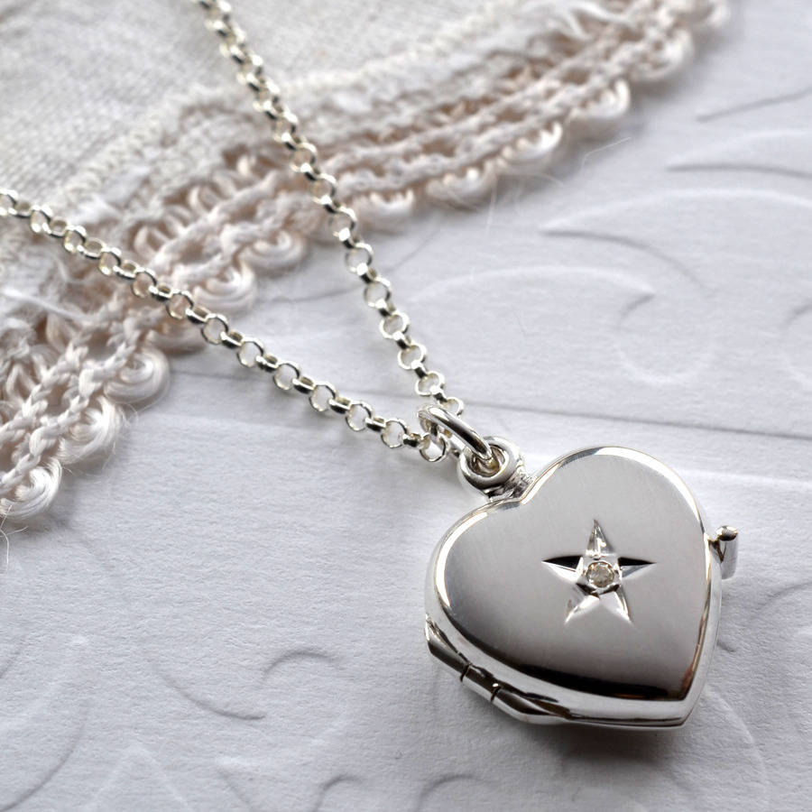 Silver Heart: Diamond Kissed Silver Heart Locket By Martha Jackson