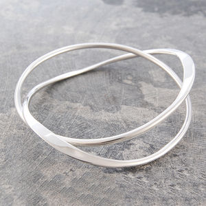 Solid Silver Curve Infinity Bangle - gifts for her