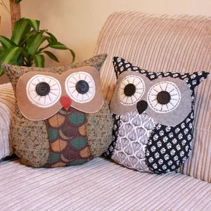 Vintage Patterned Owl Cushion