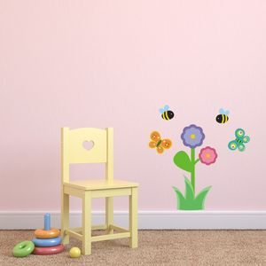 Girls Flower Scene Wall Sticker