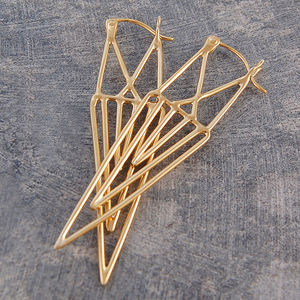 Geometric Gold Statement Drop Earrings - earrings