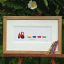 Sheep And Red Nursery Tractor Hand Finished Art Print