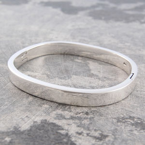 Oval Solid Sterling Silver Bangle
