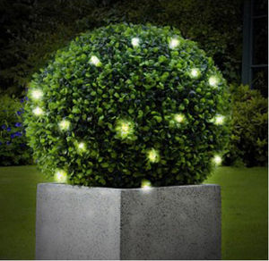 Artificial Topiary Ball With 20 LED Lights And Chain - art & decorations