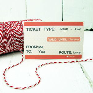 Personalised Ticket To Love Mini Gift Card