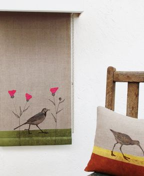 Linen Roller Blind With Pied Wagtail