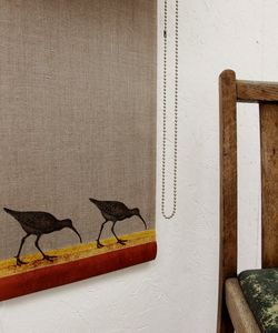 Linen Roller Blind With Curlews On The Shore - bathroom