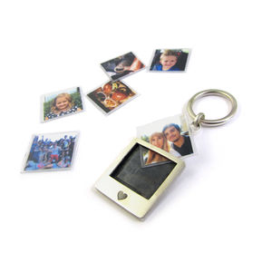 'Say Cheese' Silver Polaroid Photo Keyring - keyrings