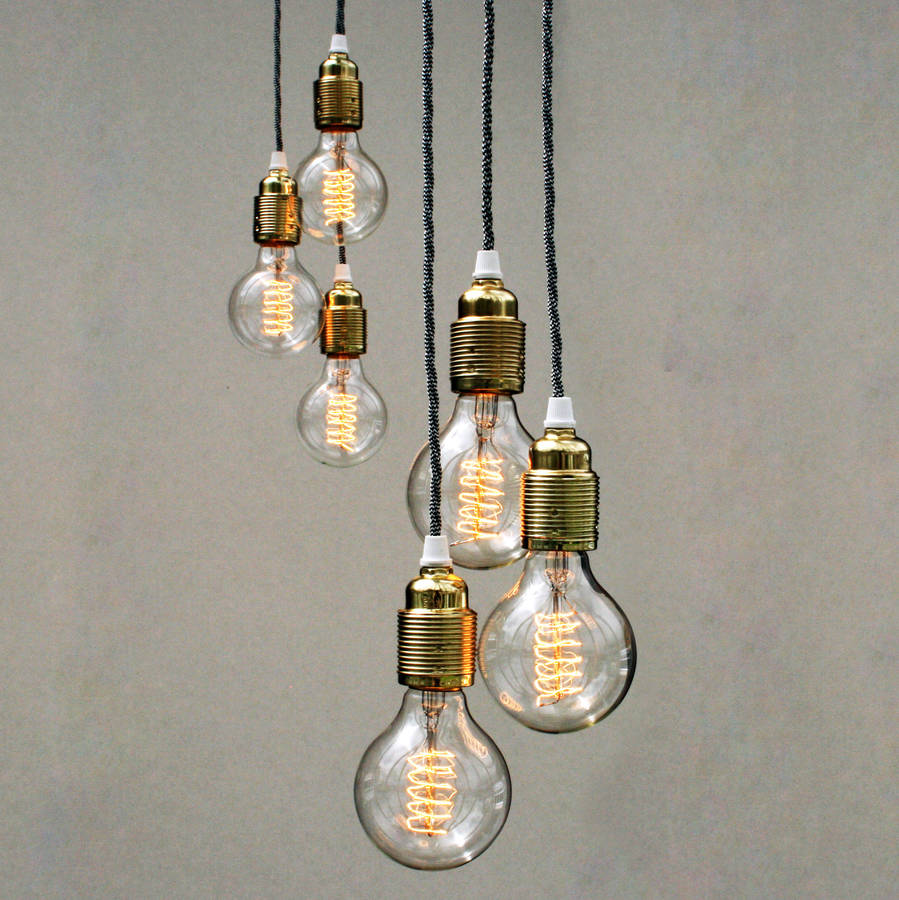 Set Of Three Bulb Pendant Lights By Unique 39 S Co
