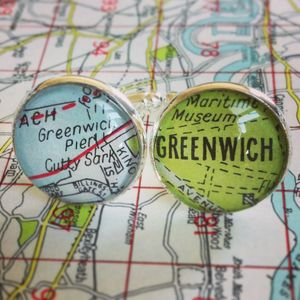 Personalied Silver Plated London Map Cufflinks