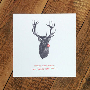 Christmas Card; Stag With Red Nose