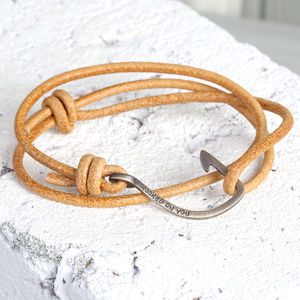 Personalised Men's Tan Leather Cord And Hook Bracelet - bracelets
