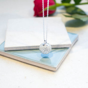 Sterling Silver Crystal Disco Ball Necklace