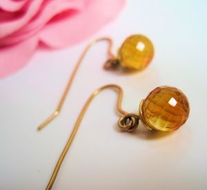 18ct Gold And Maderia Citrine Earrings