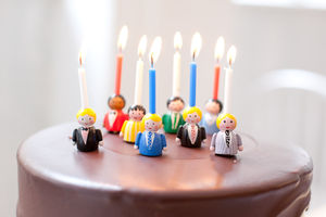 Set Of Eight Boy Doll Birthday Cake Candle Holders