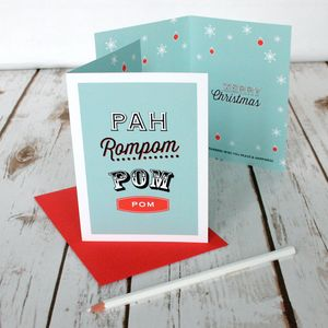 Personalised Christmas Card 'Pahrompom' Design - cards
